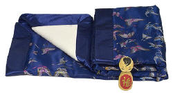 Dark blue butterfly brocade baby blanket