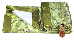 Olive Green butterfly brocade baby blanket
