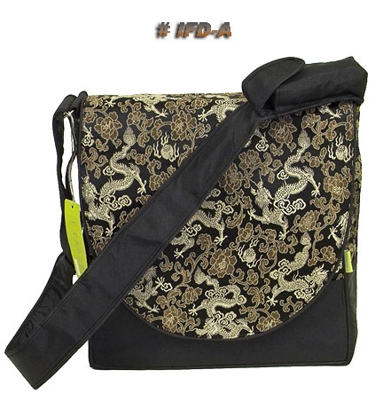 Black dragon brocade messenger diaper bag