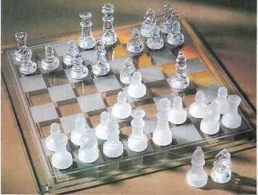 10x10 Glass Chess Set
