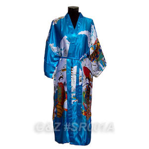 Sky Blue Robes With Japanese Geisha