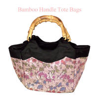 light purple brocade tote bag with bamboo handles