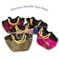 Brocade handbags with bamboo handles
