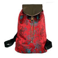 Red brocade small backpacks