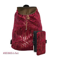 Maroon backpack & wallet set