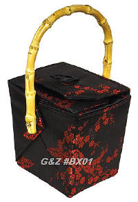 Black/Red Cherry Blossom Brocade Take Out Box