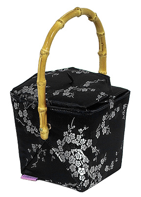 Black-Silver Cherry Blossom Take-Out-Box Handbag