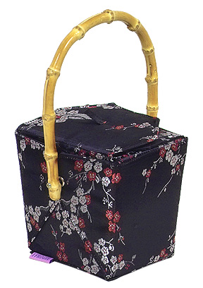 Black-Red+Silver Cherry Blossom Take-Out-Box Handbag