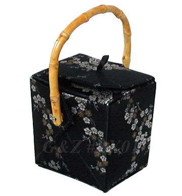 Black/Gold+Silver Cherry Blossom Brocade Take Out Box