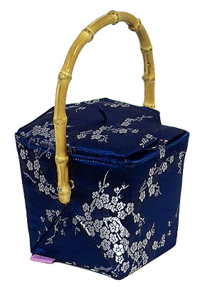Blue-Silver Cherry Blossom Take-Out-Box Handbag