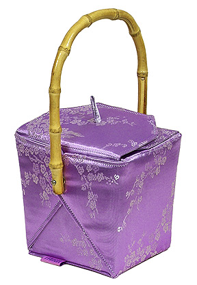 Purple-Silver Cherry Blossom Take-Out-Box Handbag