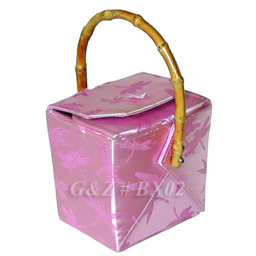 Pink Dragonfly Brocade Take Out Box