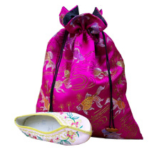 Satin brocade shoe bags
