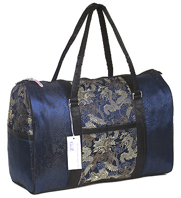 Dark Blue/Silver Dragon Brocade Travel Bag
