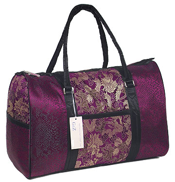 Maroon/Gold Dragon Brocade Travel Bag