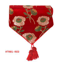 Red Peony Brocade Table Runners