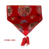 Red Round Floral Pattern Brocade Table Runners