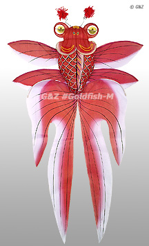 3D Gold Fish Kite - Red