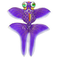 3D gold fish kite - purple